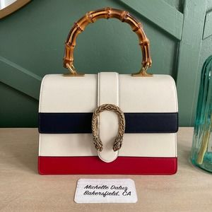 NEW Gucci Dionysus Bamboo Top Handle Strap White